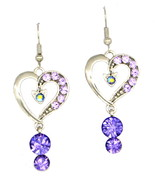 Silver love heart Violet Swarovski element crystal dangle pierced earrings - $22.00