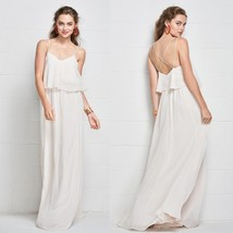 Sexy Backless White Chiffon Boho  Bridesmaid Dresses Spaghetti Strap Par... - $95.00