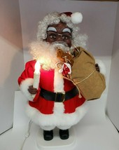 African-American Black Santa figure animated lighted candle Santas Best ... - $69.00