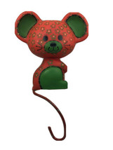Vintage Hallmark Calico Mouse Metal Christmas Stocking Hanger Red & Green - $9.89
