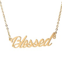 Aolo Blessed Personalized Name Necklace 14k Gold Plating Stainless Steel... - $11.00