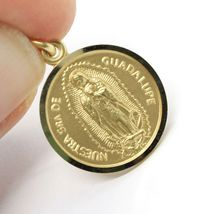 SOLID 18K YELLOW GOLD LADY OF GUADALUPE, 13 MM, ROUND MEDAL MADE IN ITALY SENORA image 3