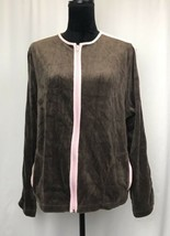 Sag Harbor Sport Women's Brown-Pink Trim Jacket size XL Cotton Blend - $8.26