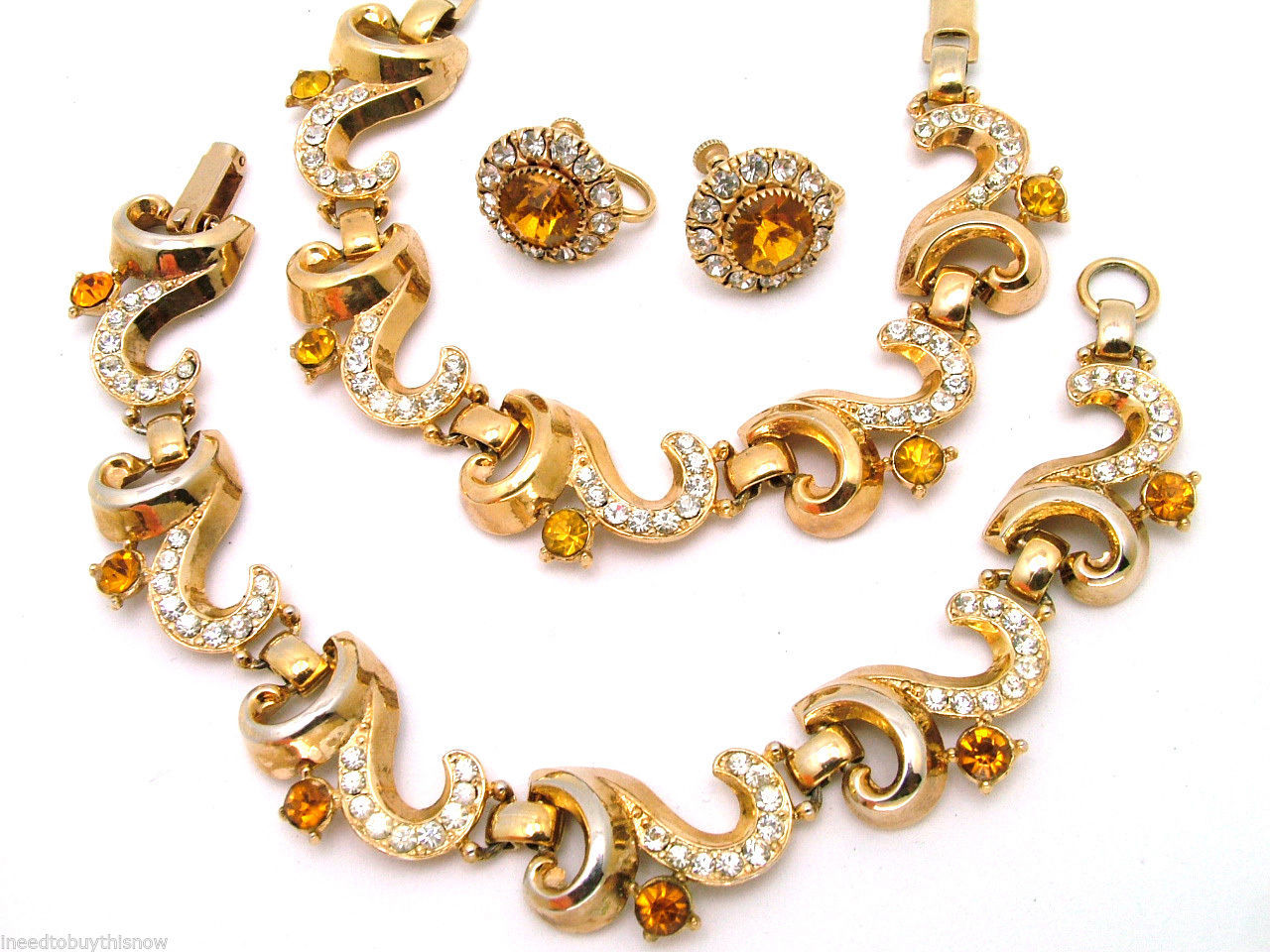 Vintage LISNER Necklace Bracelet Set With Screw Back Earrings In Citrine & Clear