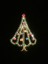 Vintage 60s Gold Plate and Rhinestone Christmas Tree Brooch