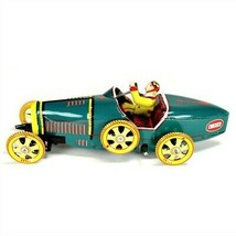Tin Toy Race Car Bugatti T-35 Racer Teal Classic Wind Up New Vintage Style Litho - $16.95