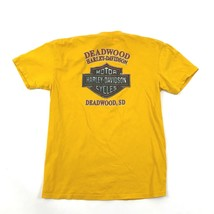 Harley Davidson T Shirt TAILLE L Jaune Manche Courte Bois Mort Sd Motard... - $19.75