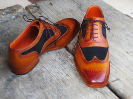 Handmade Men's Brown Leather & Black Suede Wing Tip Brogues Oxford Shoes image 3