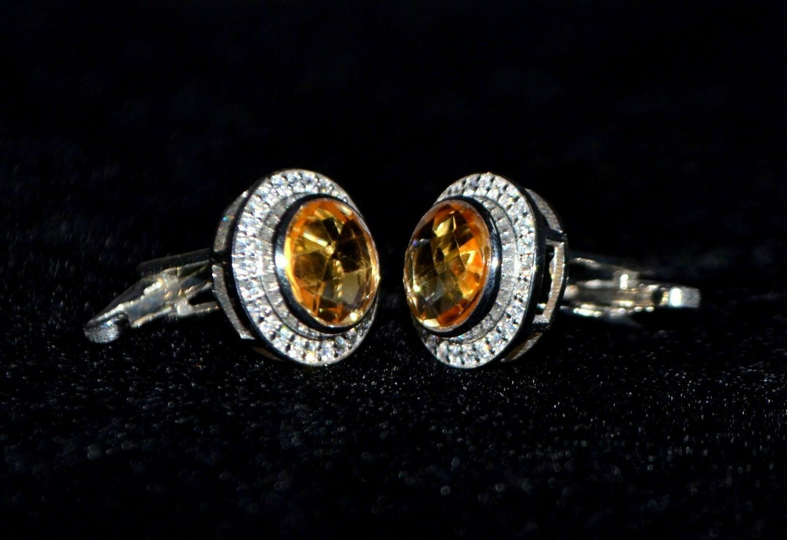 925 Sterling Silver Natural Fine Quality Citrine And Cz Gemstone Artistic Design