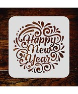 Happy New Year Stencil - 10 x 10 inch (M) - Reusable New Year Sign Words... - $26.79