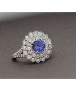 Floral Engagement Ring Round Cut Blue Sapphire 14k White Gold Plated 925 Silver - £55.57 GBP