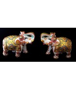 BEAUTIFUL HAND CURVED MEENAKARI INDIAN ELEPHANT SET DECOR PIECE WHITE MA... - $173.72