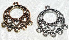 HEART CHANDELIER FINE PEWTER PENDANT OR EARRING PART-ONE TO THREE  - 20x24x1.5mm