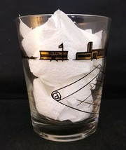 Vintage MCM Lowball Barware Gold Black Architect's or Contractor's Glass - $7.92
