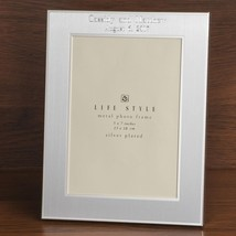 Brushed silver two tone engraved 5 x 7 picture frame  - $19.99