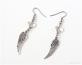 Angel Wing Earrings, Antique Silver, Surgical Steel Hooks, Gothic Earrin... - $10.00