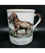 Vintage Enesco Ivory with Brown Speckled Stoneware Mug Irish Setter Hunting Dog - $6.99