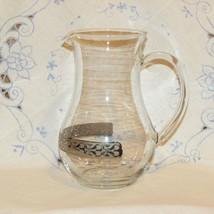 GLASS WATER PITCHER EMBOSSED SILVER BAND ELEGANT WEDDING BRIDE DECOR JUICE - $19.79
