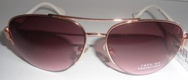 Curfew Gold Metal Sunglasses NWT Purple Lens White Plastic Floral 100% UV - $11.99