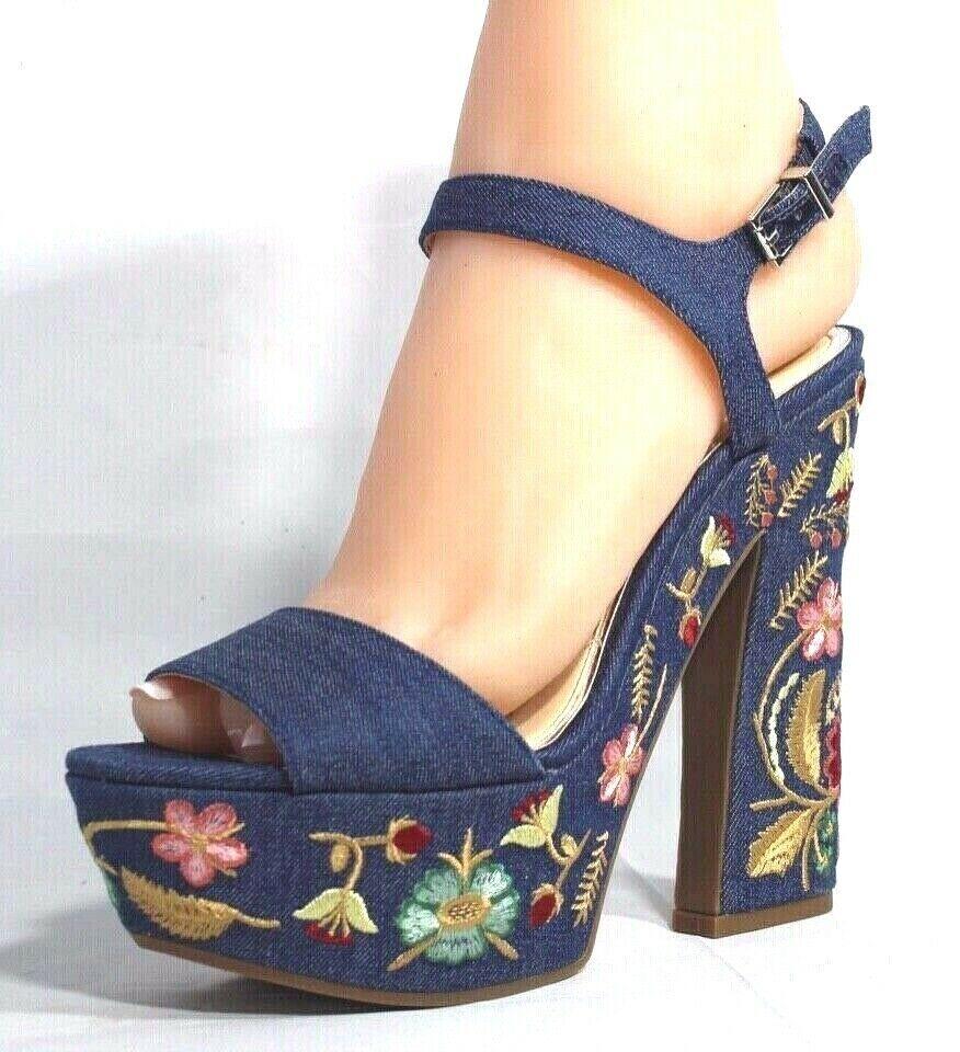 Jessica Simpson Divella Damen High Heels Offen Sandalen Denim Stickerei Größe 7