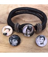 Black Double Rope Cloth Bangle Bracelets with 4 Snap Noosa Charms Button... - $6.98