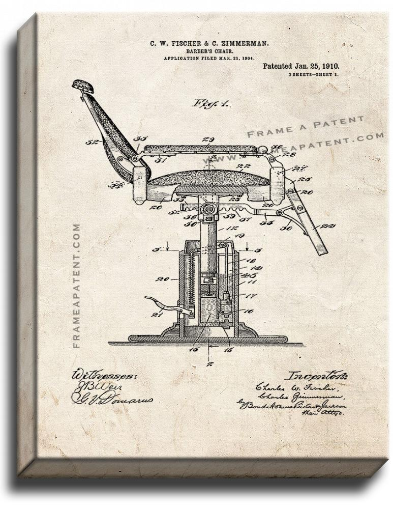 Primary image for Barber's Chair Patent Print Old Look on Canvas