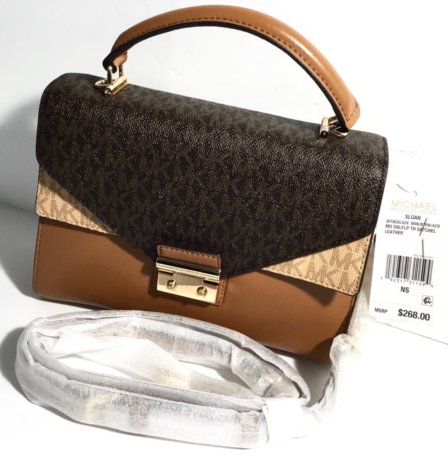 833790169bde Michael Kors Sloan Top Handle Signature Logo Medium Satchel Bag, Acorn Brown