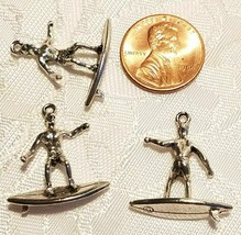 MALE SURFER FINE PEWTER PENDANT ANTIQUE SILVER FINISH - 24x21x3mm image 2