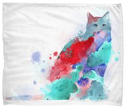 Throw blanket Fleece blanket Made USA Cat 609 aqua blue red pink L.Dumas - $64.99