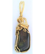 Fire Agate Gold Wire Wrap Pendant 21 - $44.00