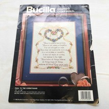 Bucilla Paul to Corinthians Cross Stitch Kit I Cor 13 Love Heart Flowers... - $14.85