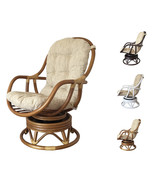 Natural Rattan Wicker Swivel Rocking Chair Erick With Cushion - $288.99