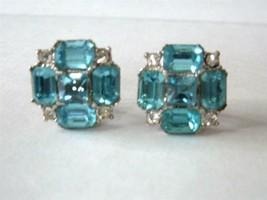 Vintage Bogoff Earrings Aqua Clear Rhinestones Emerald Cut Silver Rhodiu... - $19.79