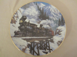WINTER CROSSING collector plate TED XARAS Railroad TRAIN - $15.99