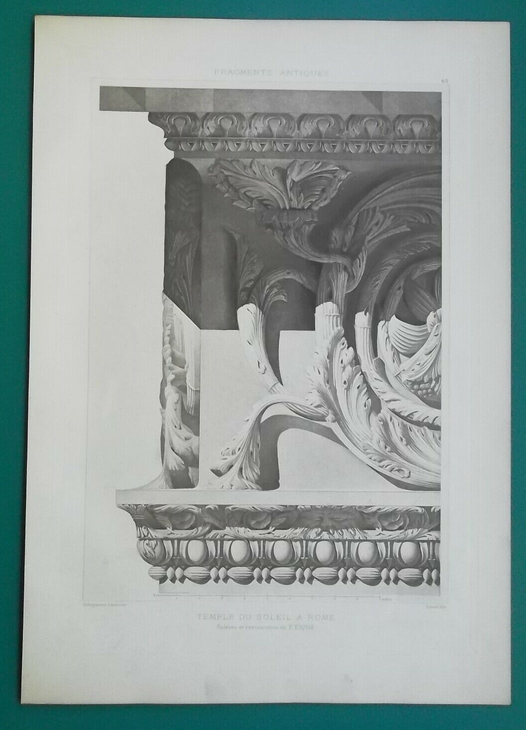 Primary image for ROME Temple of the Sun Architrave Detail Architecture - 1905 d'Espouy Print