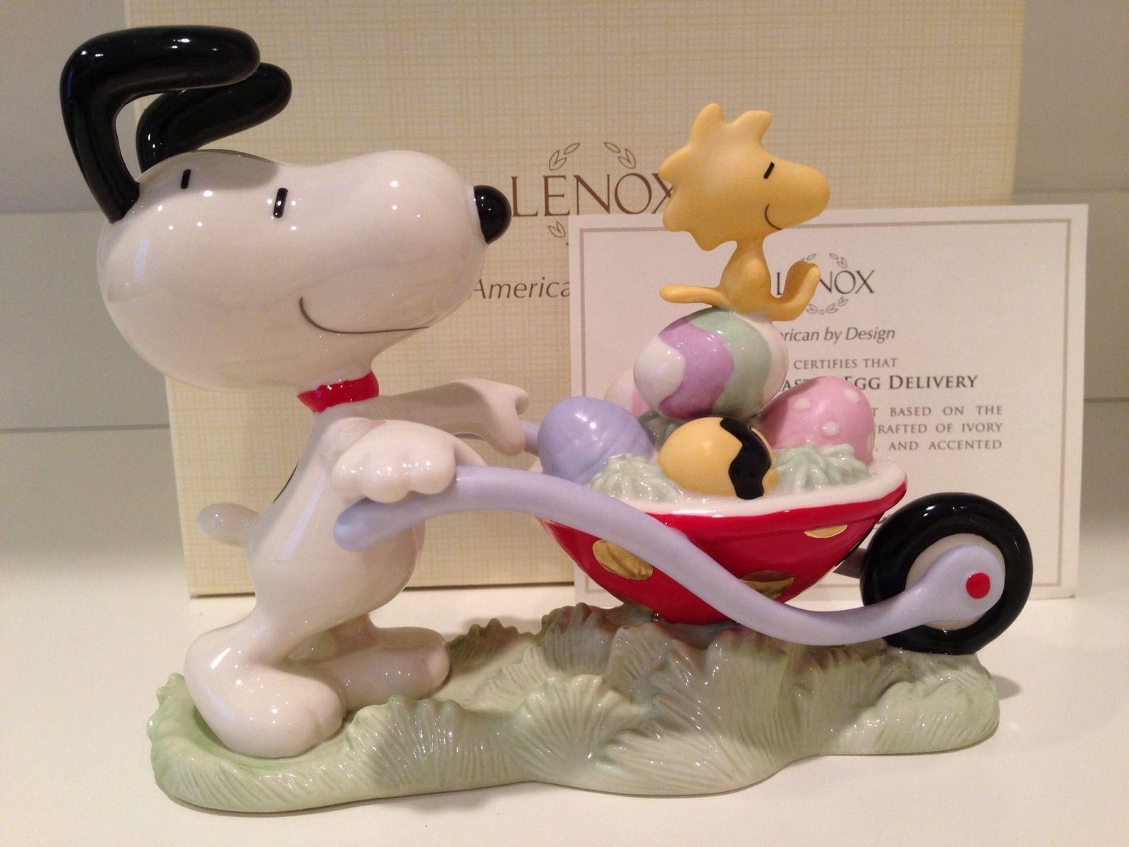 Lenox Peanuts Snoopy Easter Figurine Egg Delivery In Wheelbarrow Woodstock NEW
