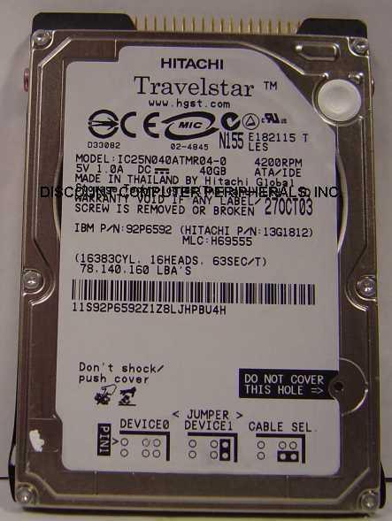 """NEW 40GB IDE 44PIN 2.5"""" 9.5MM drive IBM IC25N040ATMR04-0 Free USA Ship"""