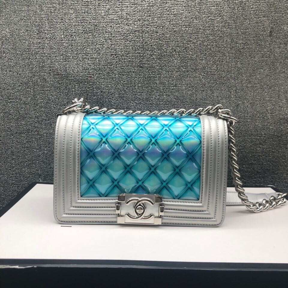 100% AUTHENTIC CHANEL 2018 S/S MERMAID SMALL BOY FLAP BAG IRIDESCENT RARE