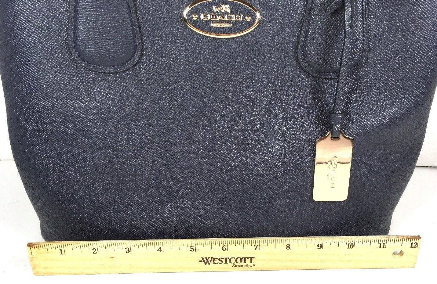 Coach Kitt Carryall Tote Navy Blue Crossgrain Leather Gold Tone HW with Dustbag image 7