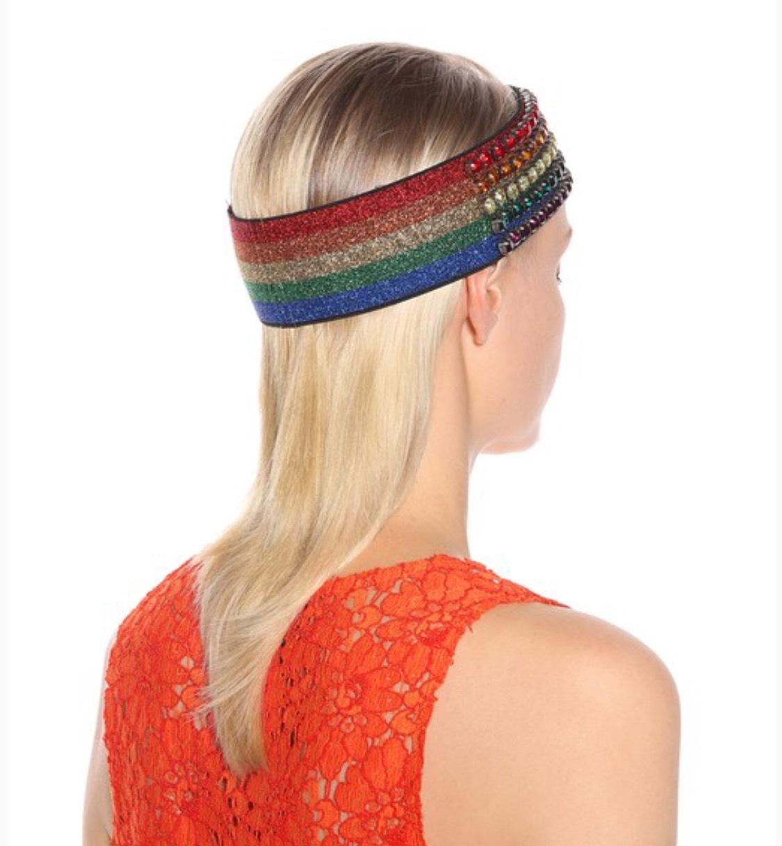 3947e21694d Women s GUCCI rainbow crystal rhinestone elasticized lurex headband hair  band