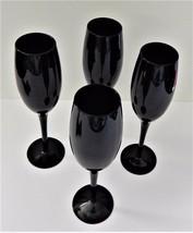 4  Libbey Black Amethyst Champagne Flute Wine Glass Stemware Vintage  - $39.59