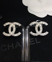 AUTHENTIC CHANEL CRYSTAL LARGE CC LOGO RHINESTONE EARRINGS SILVER image 5