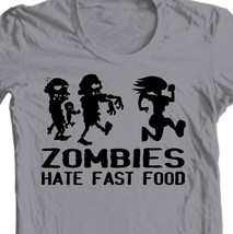 Zombies Hate Fast Food T-shirt Walking Dead funny runner 100% cotton graphic tee image 1