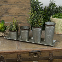 Metal Tray with Four Assorted Sized Metal Buckets Planter Decorative Dis... - $69.95