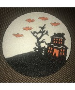 """Cynthia Rowley Haunted House Bat Halloween Beaded Placemat 15"""" Round Set 2 - $49.99"""