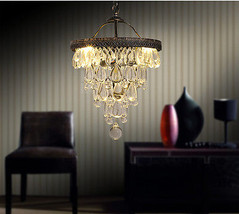 Teardrop Glass Chandelier E14 Light Ceiling Lamp Cafe Crystal Lighting F... - £188.48 GBP+