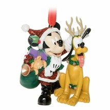 NWT Disney Parks Santa Suit Mickey & Pluto Glitter Hand Painted Ornament - $24.74
