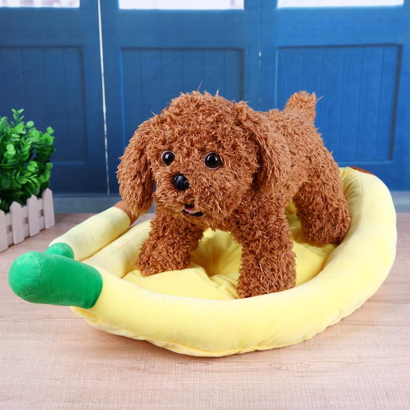 (yellow size S)Pet Products Warm Soft Bed Banana Shape Comfortable Dog House Pet