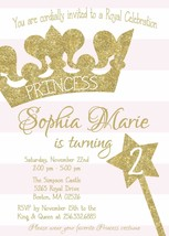 Princess, Gold Glitter, Blush Pink, Wand Birthday Invitation, Personalized - £9.07 GBP