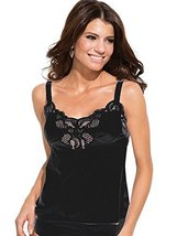 Ilusion Women's Nylon Lace Inset Camisole Slip Top with Lace Trim 2032 (34, Blac
